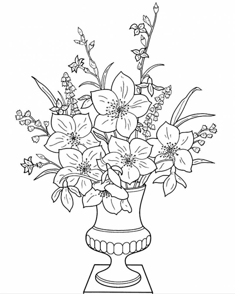 картинка цветы нарисовать в вазе будет