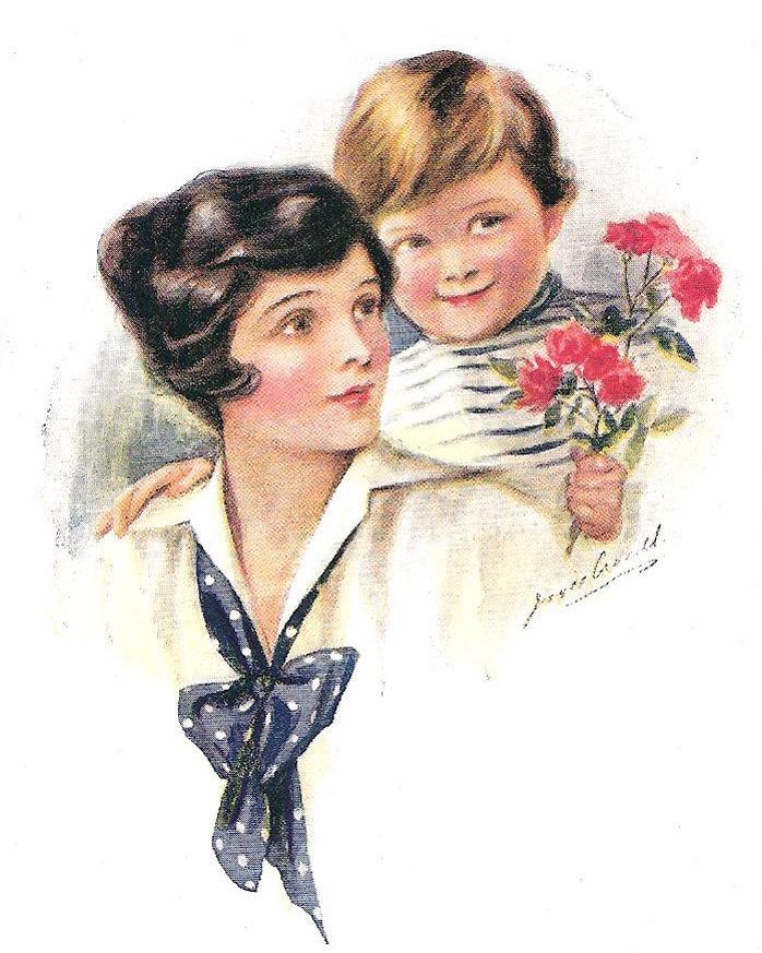 День матери на старинных открытках