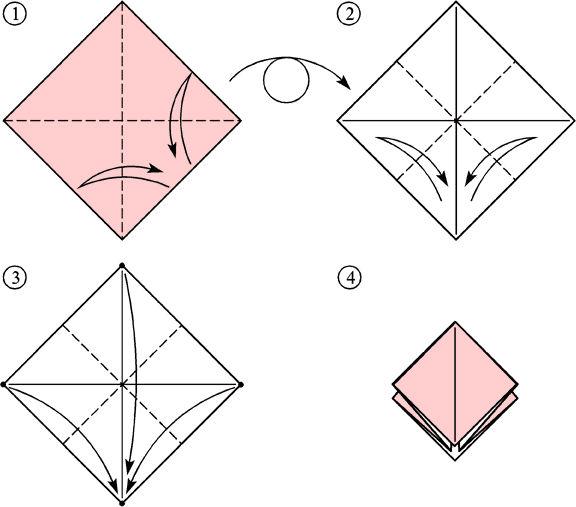 оригами журавлик схема скачать